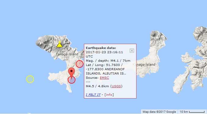 Location of the recent M4 earthquakes beneath Takawangha volcano (yellow circles)