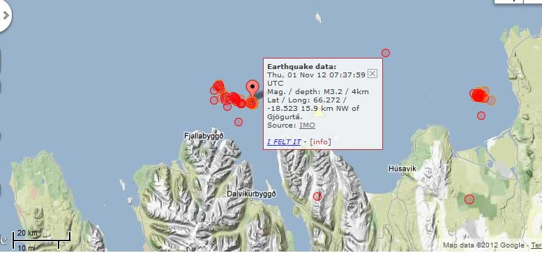 Location of quakes in the TFZ during 1-2 Nov 2012