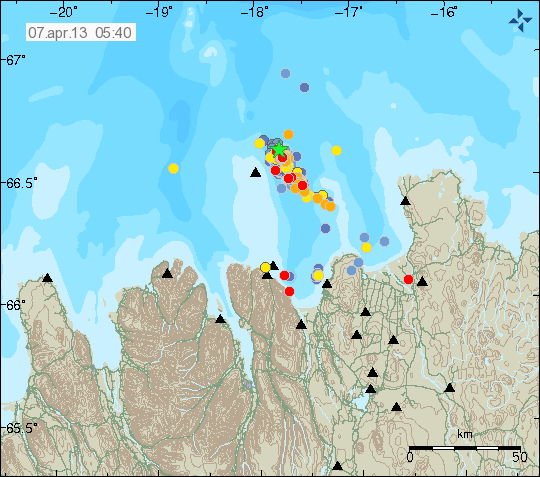 Earthquakes in the TFZ during the past 48 hours (Icelandic Met Office)