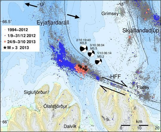 The Húsavík-Flatey (HFF)  transform faut and location of earthquakes in the TFZ (IMO)