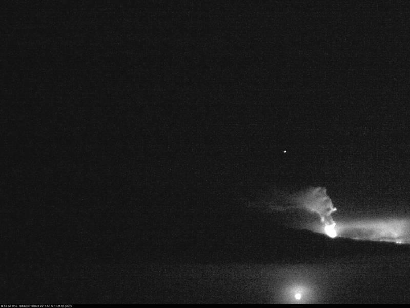 Current webcam image of Tolbachik in eruption (12 Dec 2012)
