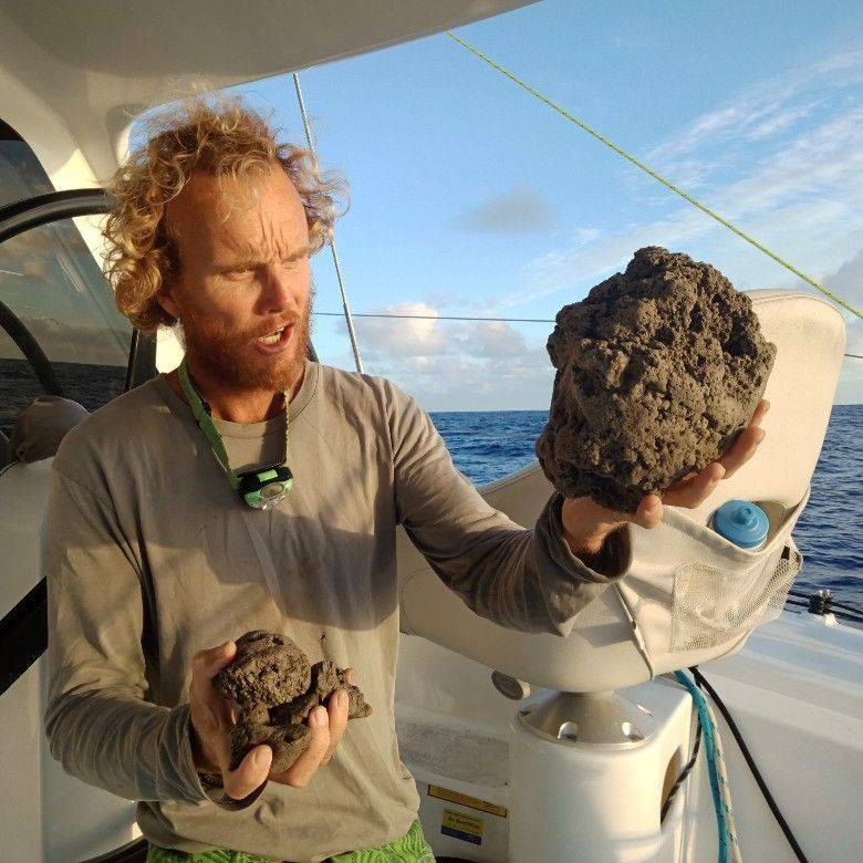 Sample of pumice encountered while sailing near Vava'u island in Tonga (image: Sail Surf ROAM / facebook)