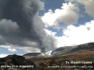 Webcam image of the eruption today (GeoNet)
