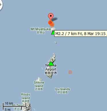Recent quakes near Toshima volcano