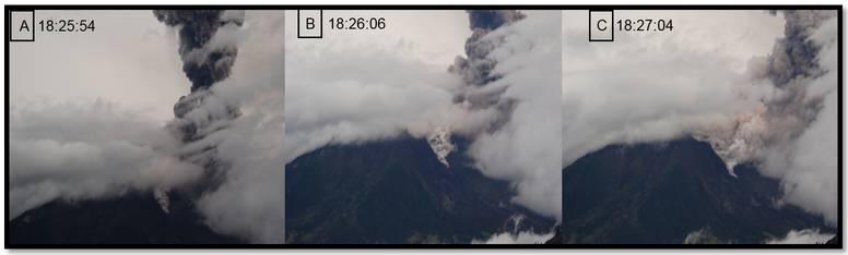 Volgorde van uitbarstingen met pyroclastische stromen op Tungurahua (foto G. Viracucha Overurentar/IG's)