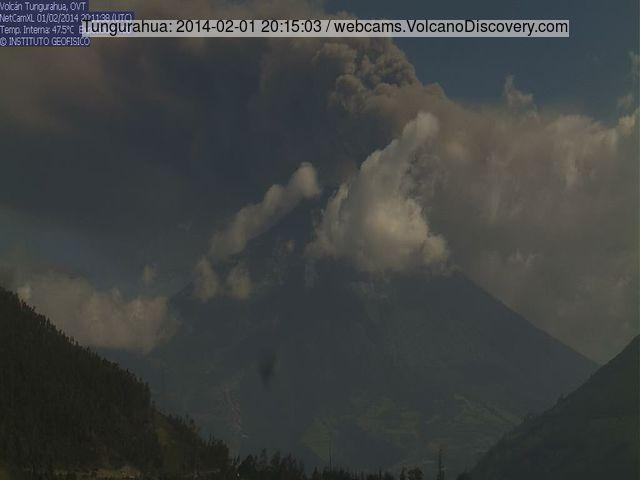 Ash eruption at Tungurahua volcano this evening