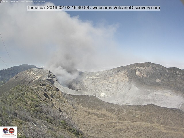 Ash plume from Costa Rica's Turrialba volcano yesterday