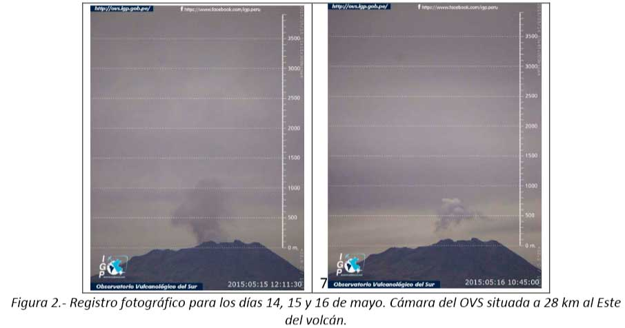 Degassing and ash plume from Ubinas during 14-16 May (IGP)
