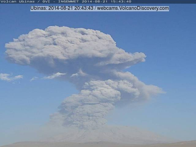 Powerful vulcanian explosion at Ubinas yesterday
