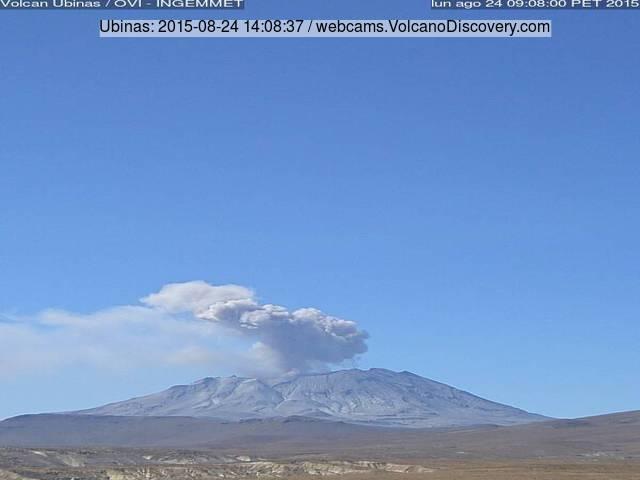 Ash emission from Ubinas volcano today