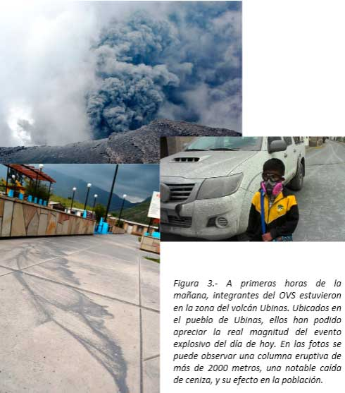 Ash emission from Ubinas yesterday and ash fall in Ubinas town (OVS)