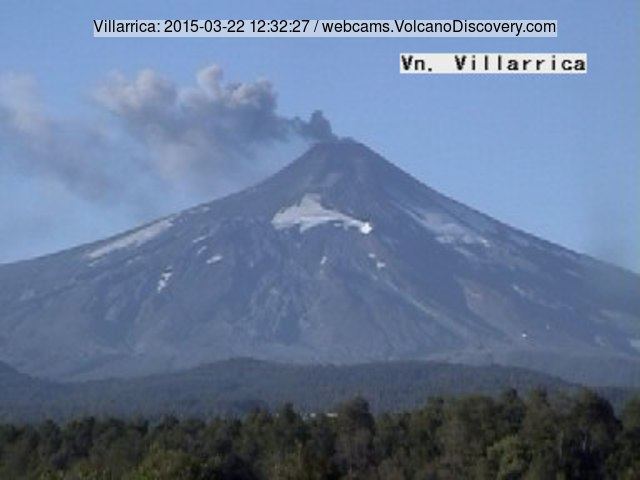 Ash emissions from Villarrica volcano today