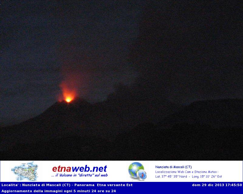 Strombolian activity at New SE crater (Etna-Web webcam)