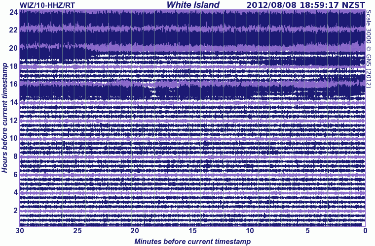 Seismic signal of White Island at the start of the new eruption (GeoNet)