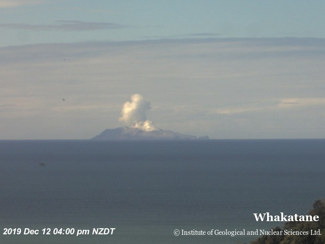 Steam plume rising from White Island (image: Geonet webcam)
