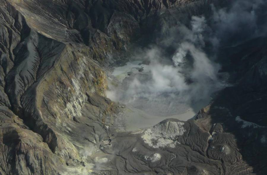 Aerial view of the re-filling Crater Lake at White Island (GeoNet)