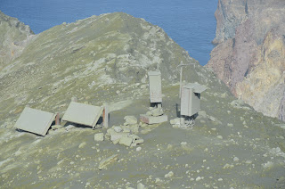 Geonet's instruments inside White Island covered with ash from the eruption on 27 April 2016 (image: Geonet)