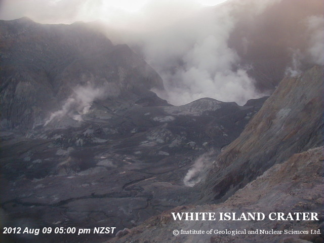 Webcam view of the crater of White Island on 9 Aug (GeoNet)