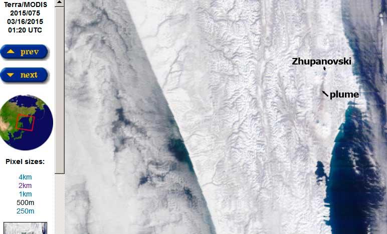 Ash plume from Zhupanovsky volcano this morning (NASA Terra/MODIS)