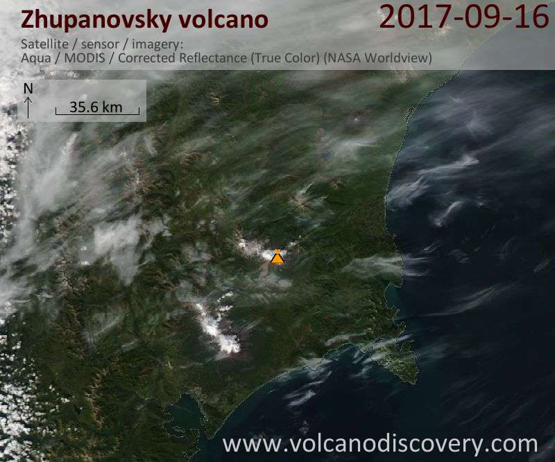 Satellite image of Zhupanovsky volcano on 16 Sep 2017