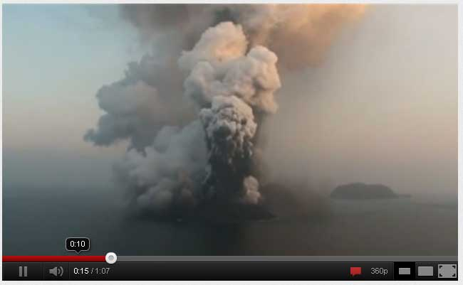 Surtseyan eruption at the newly formed island in the Red Sea