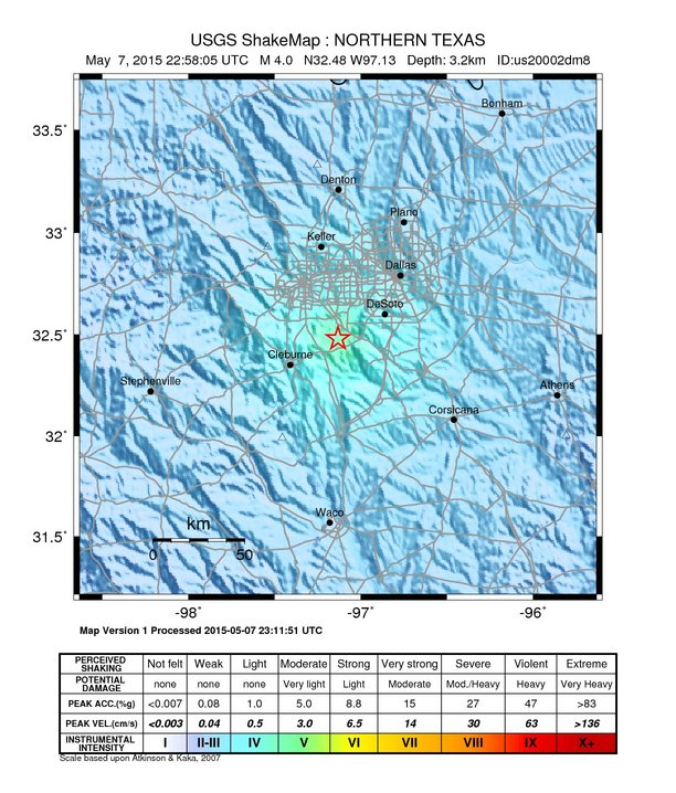 Shakemap by USGS
